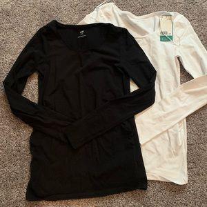 Set of 2 long sleeved maternity shirts